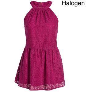 Lace Peplum Halter Top:  magenta